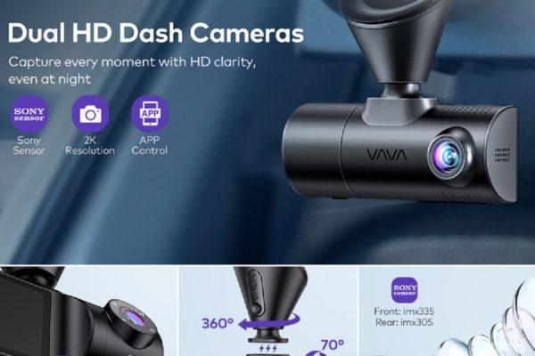 VAVA Dual Dash Cam 2K: Camera hành trình ghi lại hình ảnh bên trong và ngoài ô tô một cách rõ nét