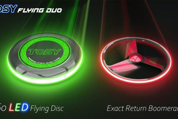 The TOSY Flying Duo: Boomerang và bộ đĩa bay đầu tiên trên thế giới được trang bị đèn LED